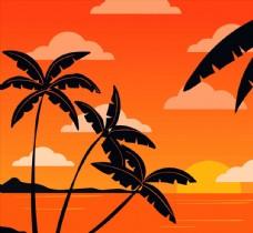 夕阳下的椰子树剪影图片