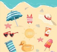 海滩上的度假物品图片