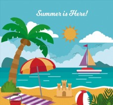 夏季度假沙滩风景图片
