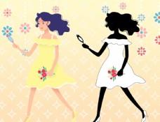 蓬松的头发 淡黄的长裙图片