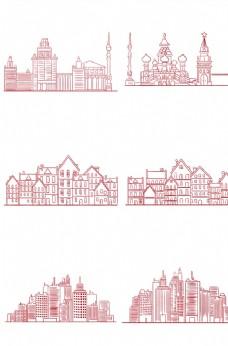 线绘城市剪影图片