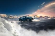 奥迪SUV Q8上市雪山素材图片