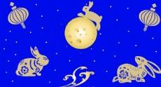 蓝底金色圆月金黄色玉兔素材图片