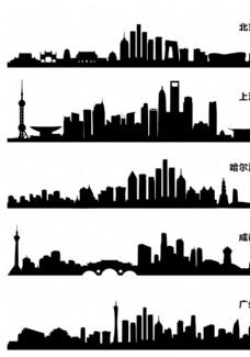一線城市剪影圖片
