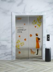 电梯门安全门广告画面图片