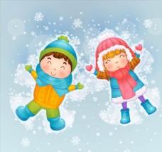 雪地玩耍的孩子图片