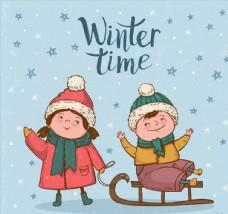 冬季玩耍的孩子图片