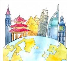 地球和世界著名建筑图片