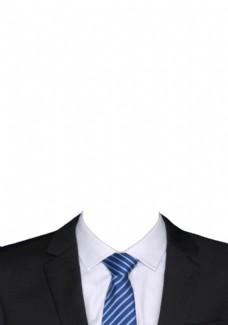 黑西装蓝纹领带拍照模板图片