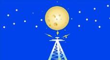 蓝底金色星球发射素材图片