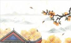 古风花枝装饰山水元素图片