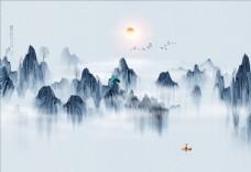 水墨山水 小船 大雁 背景墙图片
