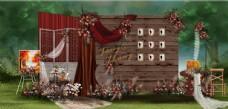 复古草坪婚礼迎宾区图片