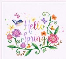 花鸟你好春季艺术字图片