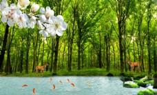 森林麋鹿九鱼图图片