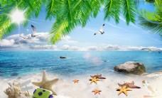 椰树海边风景背景墙图片