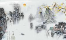 鸟鸣涧山水风景背景墙图片