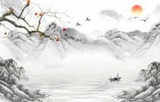意境山水风景电视墙图片