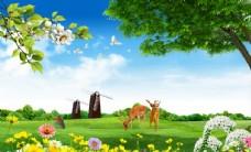 麋鹿风景背景墙图片