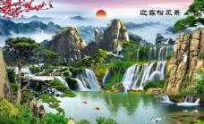 迎客松风景山水瀑布背景墙图片