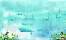 卡通海洋海豚蓝色背景图片