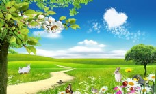 心形云朵风景背景墙图片