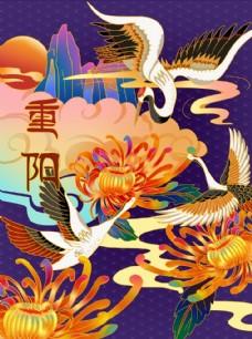 中国风仙鹤菊花重阳节插画图片