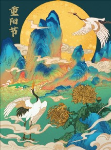 中国风仙鹤菊花插画图片