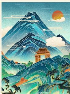 古风山水插画图片