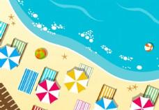 扁平风格海滩插画图片